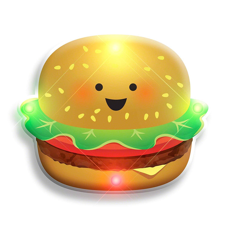 LED Happy Hamburger Flashing Body Light Lapel Pins All Body Lights and Blinkees