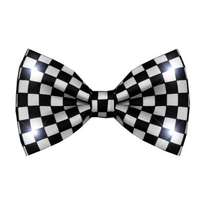 Black and White Checkered Bow Tie with White LED Lights All Products