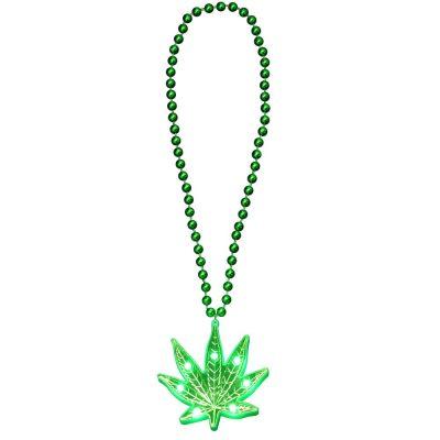 Light Up Pot Leaf Beaded Necklace 420