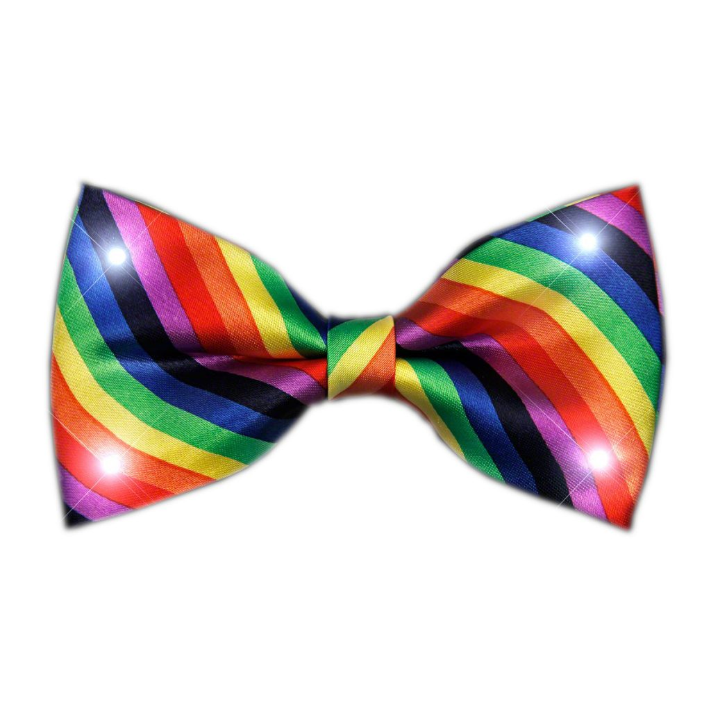 Rainbow Stripes Bow Tie with White LED Lights All Products