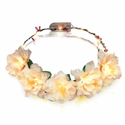 Light Up Floral Princess Woodland Fairy Halo Crown Amber