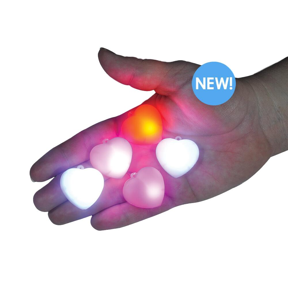 LED Versatile Sparkly Puffy Hearts Red Pack of 5 All Products