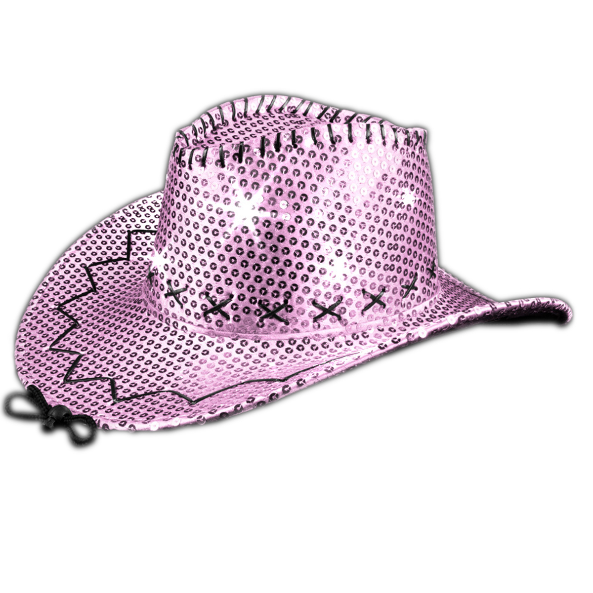LED Sequin Cowboy Hat with Fancy Stitching Pink All Products