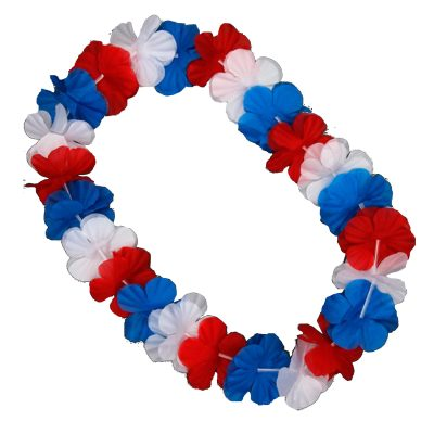 Hawaiian Flower Lei Necklace Red White and Blue 4th of July