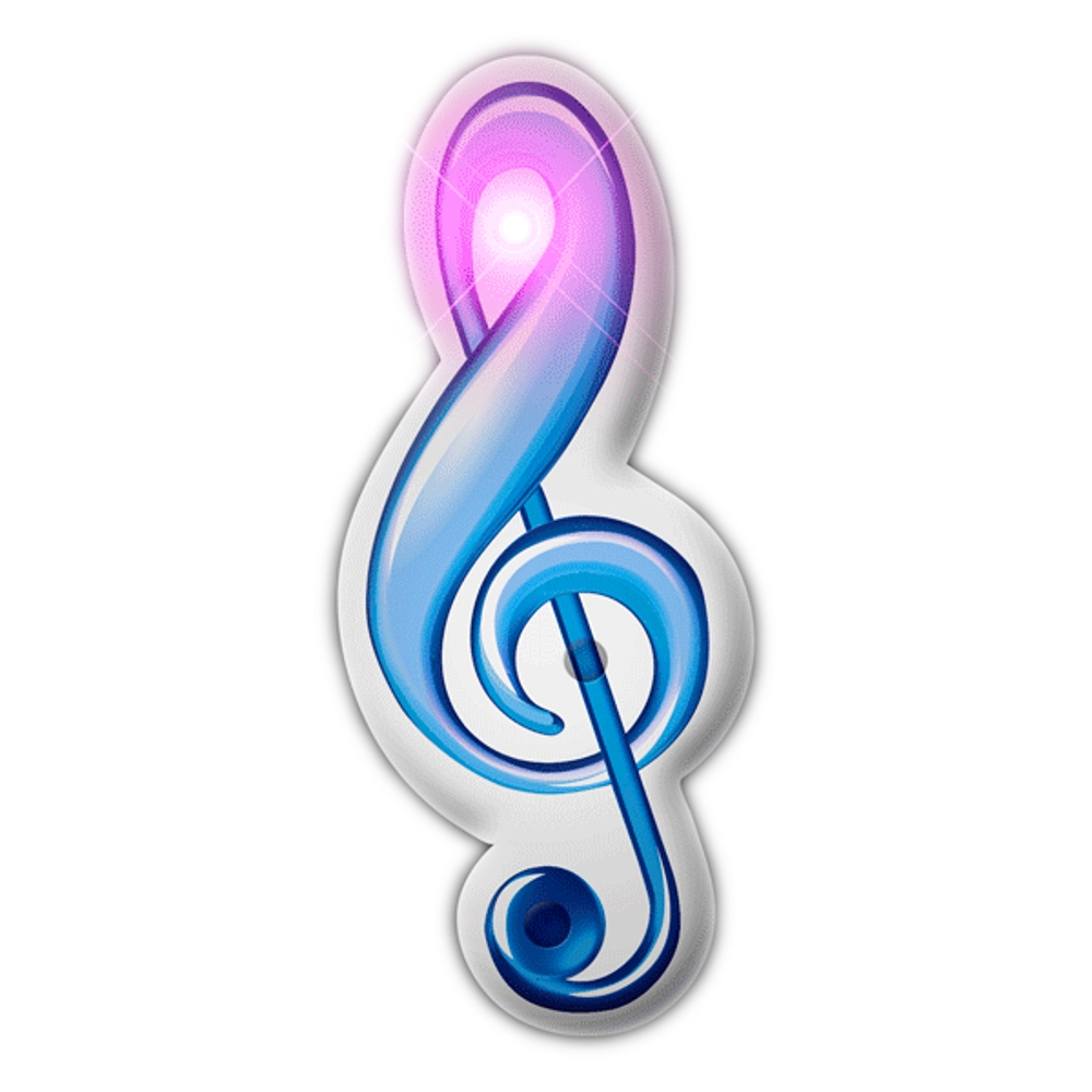 Treble Clef Music Note Flashing Body Light Lapel Pins All Body Lights and Blinkees