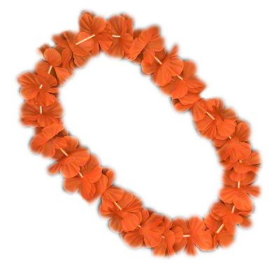 Hawaiian Flower Lei Necklace Orange All Products