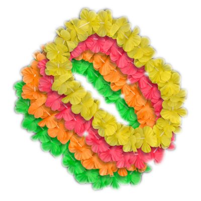Hawaiian Flower Lei Necklace Assorted Neon Colors All Products