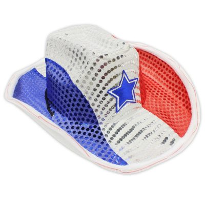 Light Up LED Flashing Cowboy Hat with Red White and Blue Sequins 4th of July