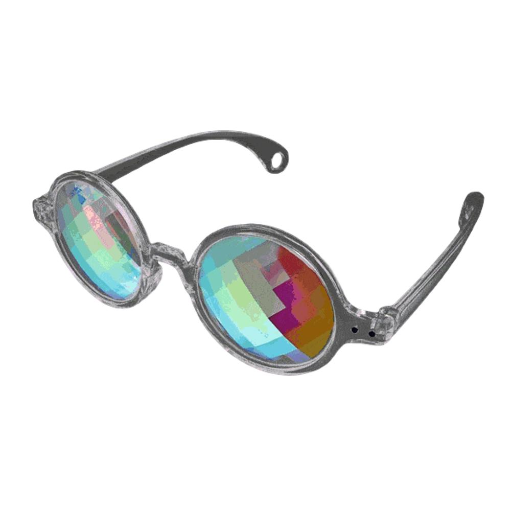 Clear Frame Far Out Kaleidoscope Pixelated Lense Glasses All Products