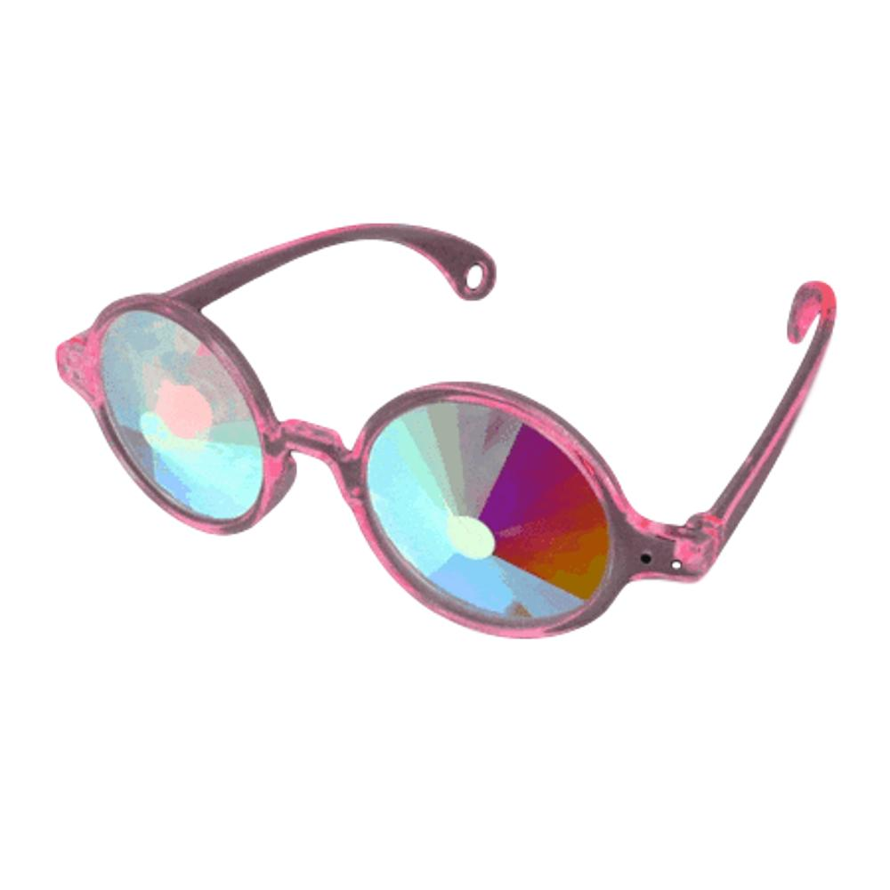 Clear Pink Frame Far Out Kaleidoscope Wheel of Wonder Lense Glasses All Products