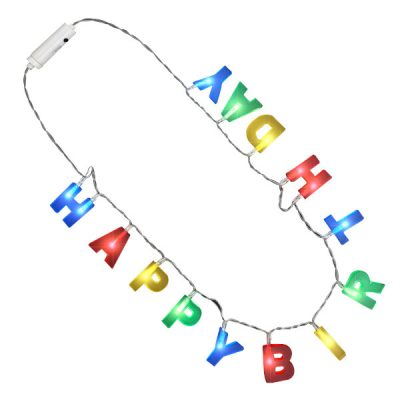 Multicolor LED Happy Birthday Lights Necklace All Products