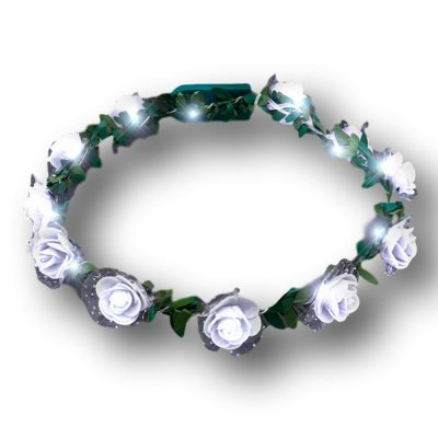 Light Up White Rose Flower Princess Halo Crown Headband Clubs, Concerts, Festivals, Disco