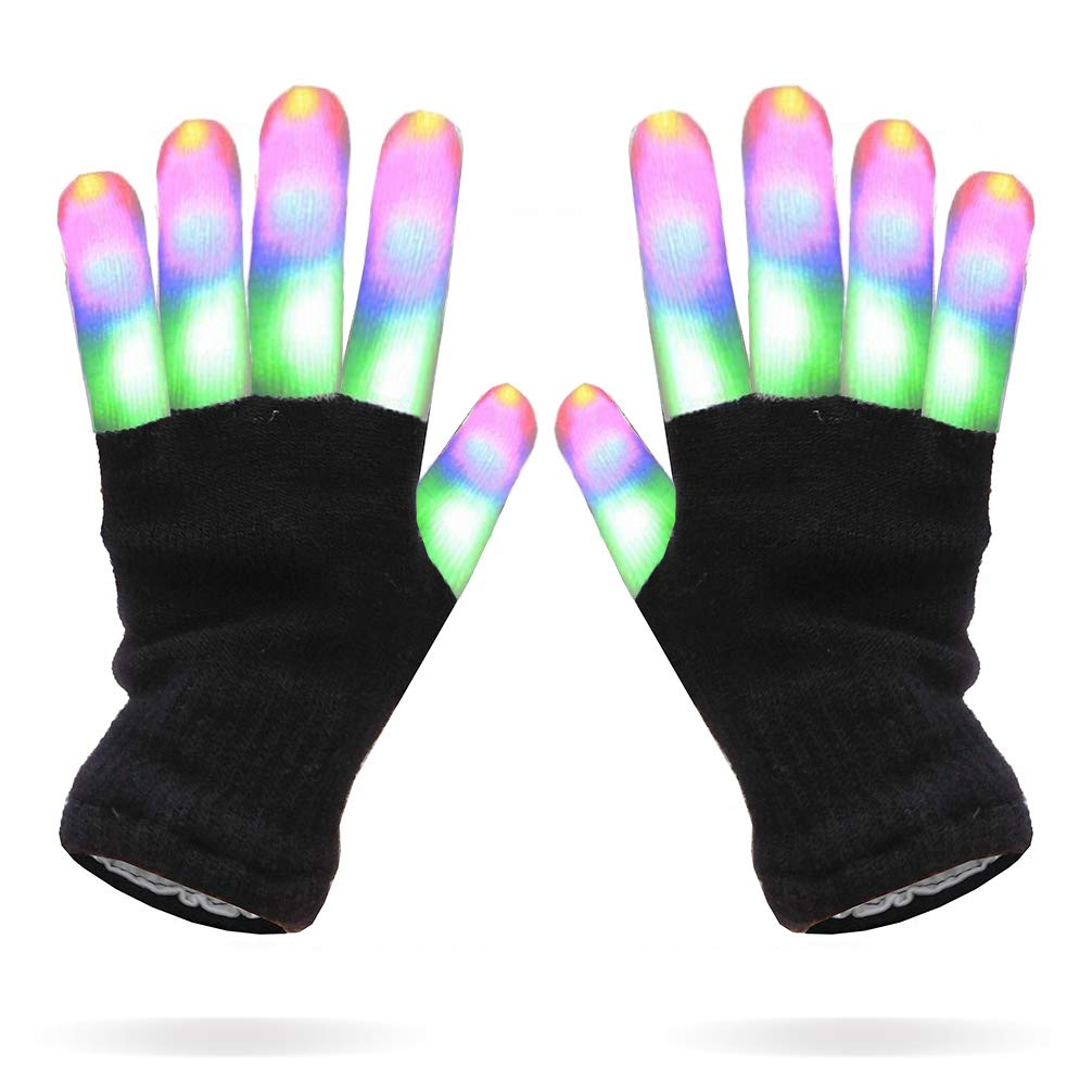 Multicolor Stripes LEDs Black Gloves All Products