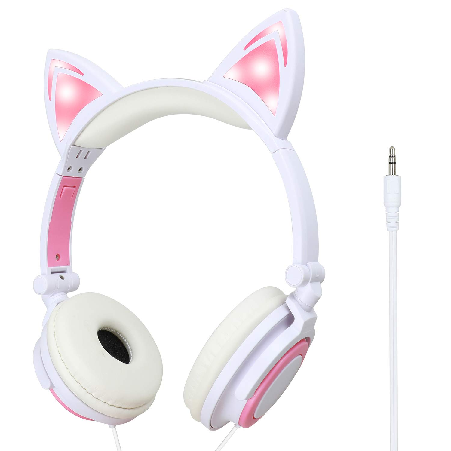 Pink LED Kitty Cat Animal Ears Headphones All Products