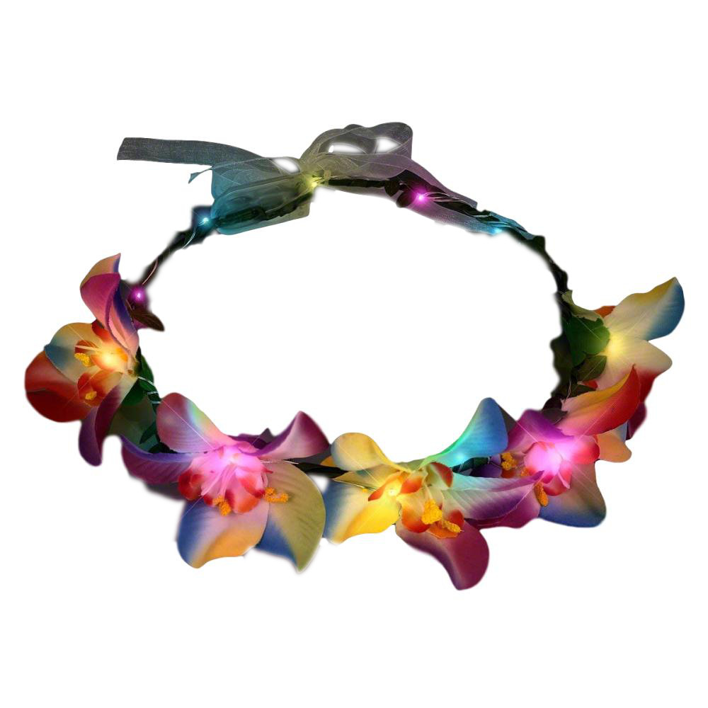 Light Up Tropical Orchid Floral Halo Crown Headband All Products