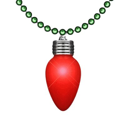 Flashing LED Red Vintage Christmas Bulb Necklace with Green Beads All Products