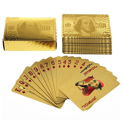 24 Karat Gold Foil Playing Cards 24K Gold and Silver Plated Replica Bills