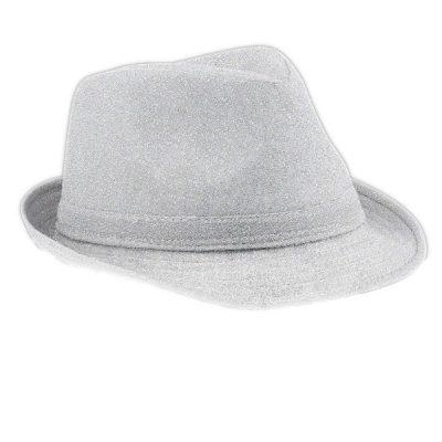 Soft Silver Fabric Fedora Non Light Up Silver