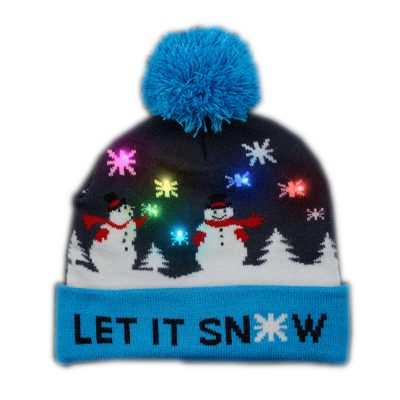 Multicolor LED Snowy Snowflake Winter Christmas Holiday Snowmen Beanie Hat All Products