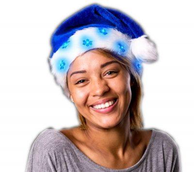 Blue LED Snowflake Santa Claus Faux Fur Plush Hat All Products