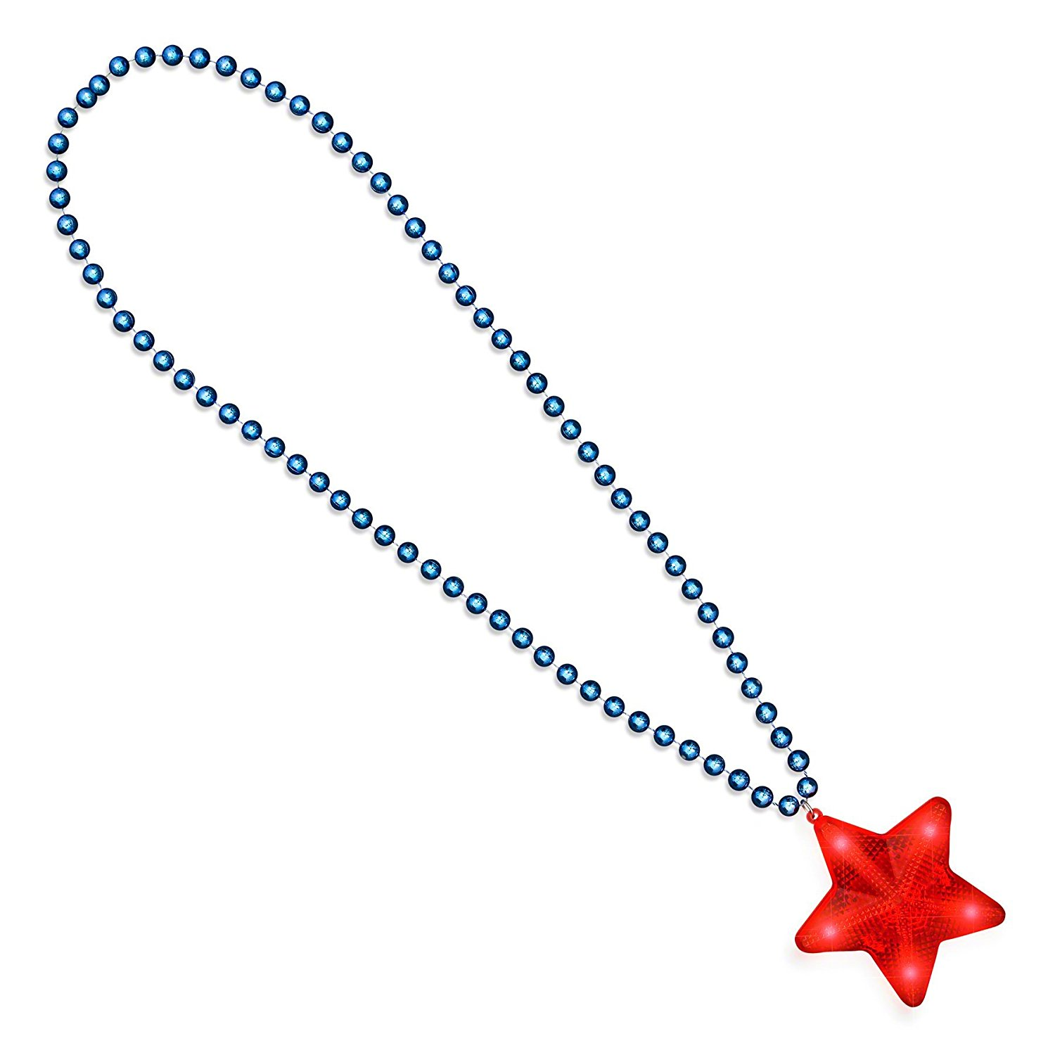 Flashing Red Star Charm Pendant with Blue Beaded Necklace for Independence Day 4th of July