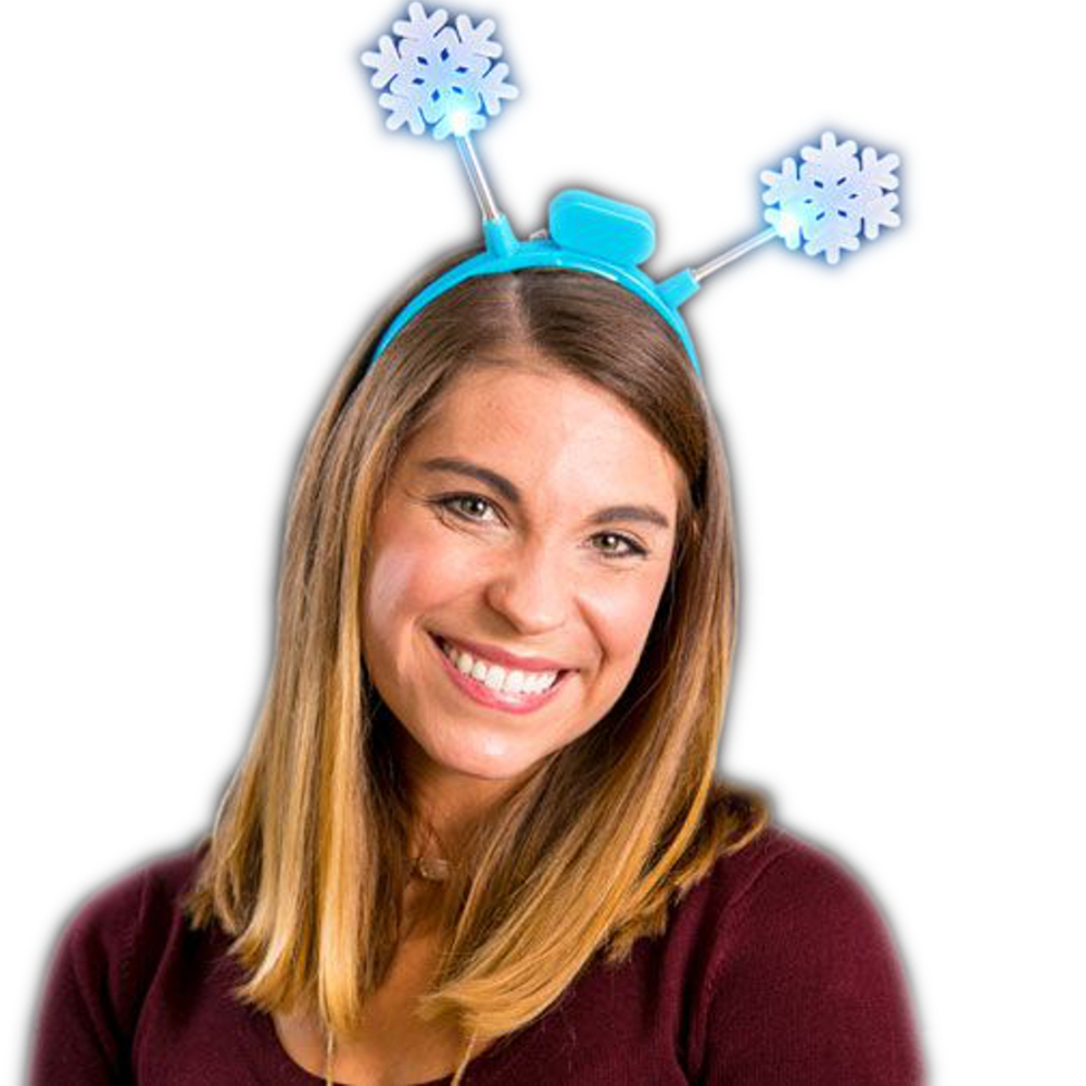 Light Up Flashing Crystal Snowflake Headband Bopper All Products