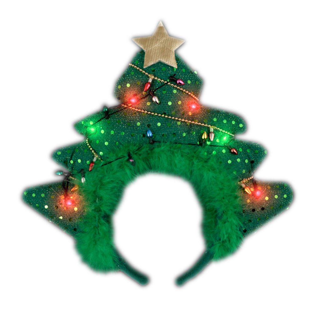 Light Up Green Novelty Sequin Plush Christmas Tree Gold Star Bopper