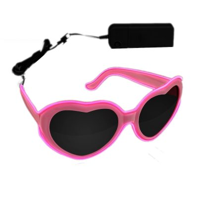Stylish Heart-Shaped Glowing Pink EL Wire Sunglasses All Products