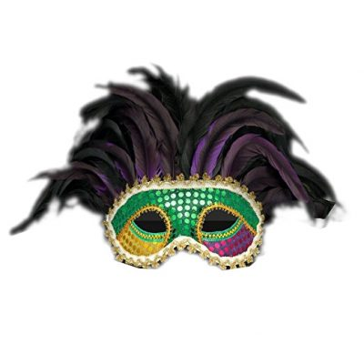 Deluxe Venetian Mardi Gras Carnival Unlit Festival Feather Mask for Fat Tuesday All Products