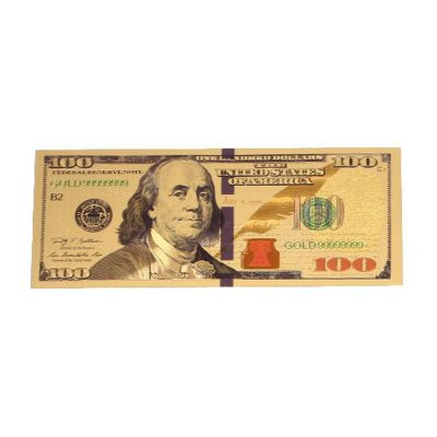 24K Gold plated 100 Dollar Bill Replica Paper Money Currency Banknote Art Commemorative Collectible Holiday Decoration 24K Gold and Silver Plated Replica Bills