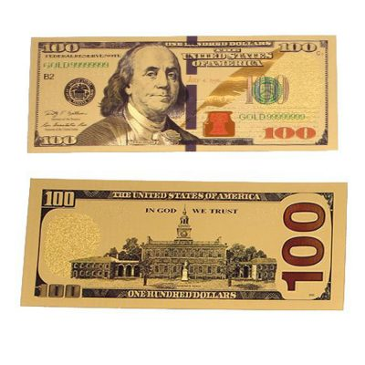 24K Gold plated 100 Dollar Bill Replica Paper Money Currency Banknote Art Commemorative Collectible Holiday Decoration All Products