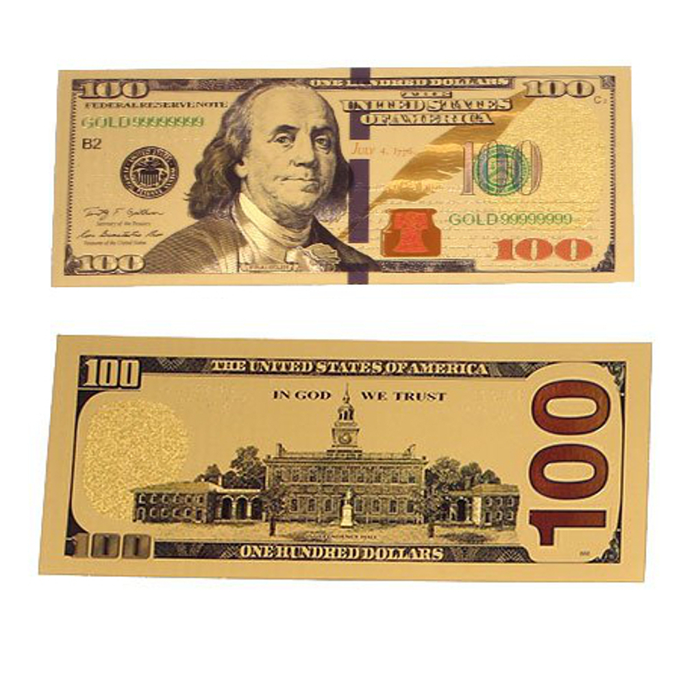 24K Gold plated 100 Dollar Bill Replica Paper Money Currency Banknote Art  Commemorative Collectible Holiday Decoration