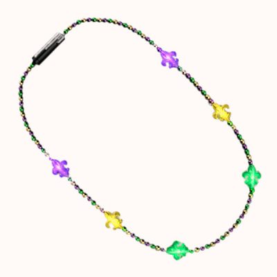 Beaded Small Fleur de Lis Charm Flashing Mardi Gras Necklace for Fat Tuesday All Products