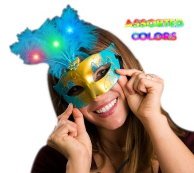 Light Up Feather Masquerade Ball Assorted Mask for Mardi Gras All Products