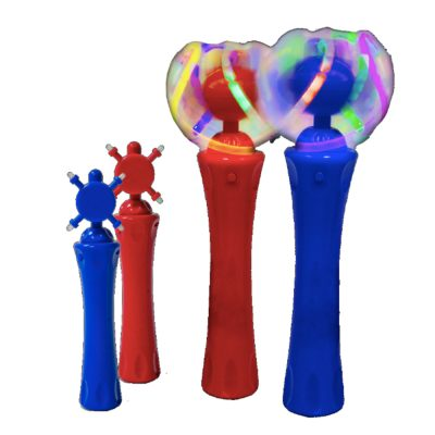 12 Packs Assorted Red and Blue Light Up Toy Orbiter Spinning Wands 4th of July
