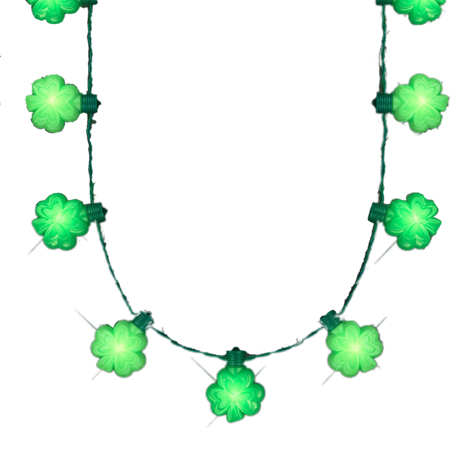 Light Up Flashing Huge Lucky Shamrocks Charms Necklace for St. Patrick's Day All Products