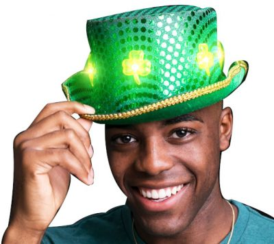 LED Green Clover Ultimate Sequin Plush Irish Top Hat with Shamrocks for St. Patrick's Day All Products