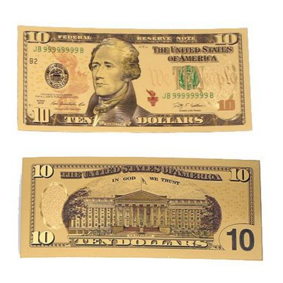 Ten Dollar Commemorative Collectible Premium Replica Paper Money Bill 24k Gold Plated Fake Currency Banknote Art Holiday Decoration 24K Gold and Silver Plated Replica Bills