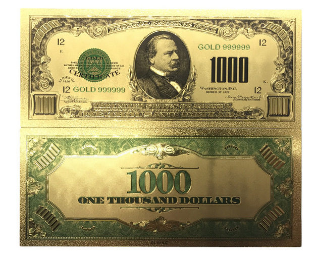 collectible 1000 dollar american bill 24k gold plated fake banknote