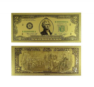 2 Dollar Commemorative Collectible Premium Replica Paper Money Bill 24k Gold Plated Fake Currency Banknote Art Holiday Decoration 24K Gold and Silver Plated Replica Bills