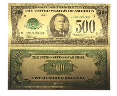500 Dollar American Dollar Bill 24k Gold Plated Art Collectibles Fake Banknote Currency for Decoration 24K Gold and Silver Plated Replica Bills