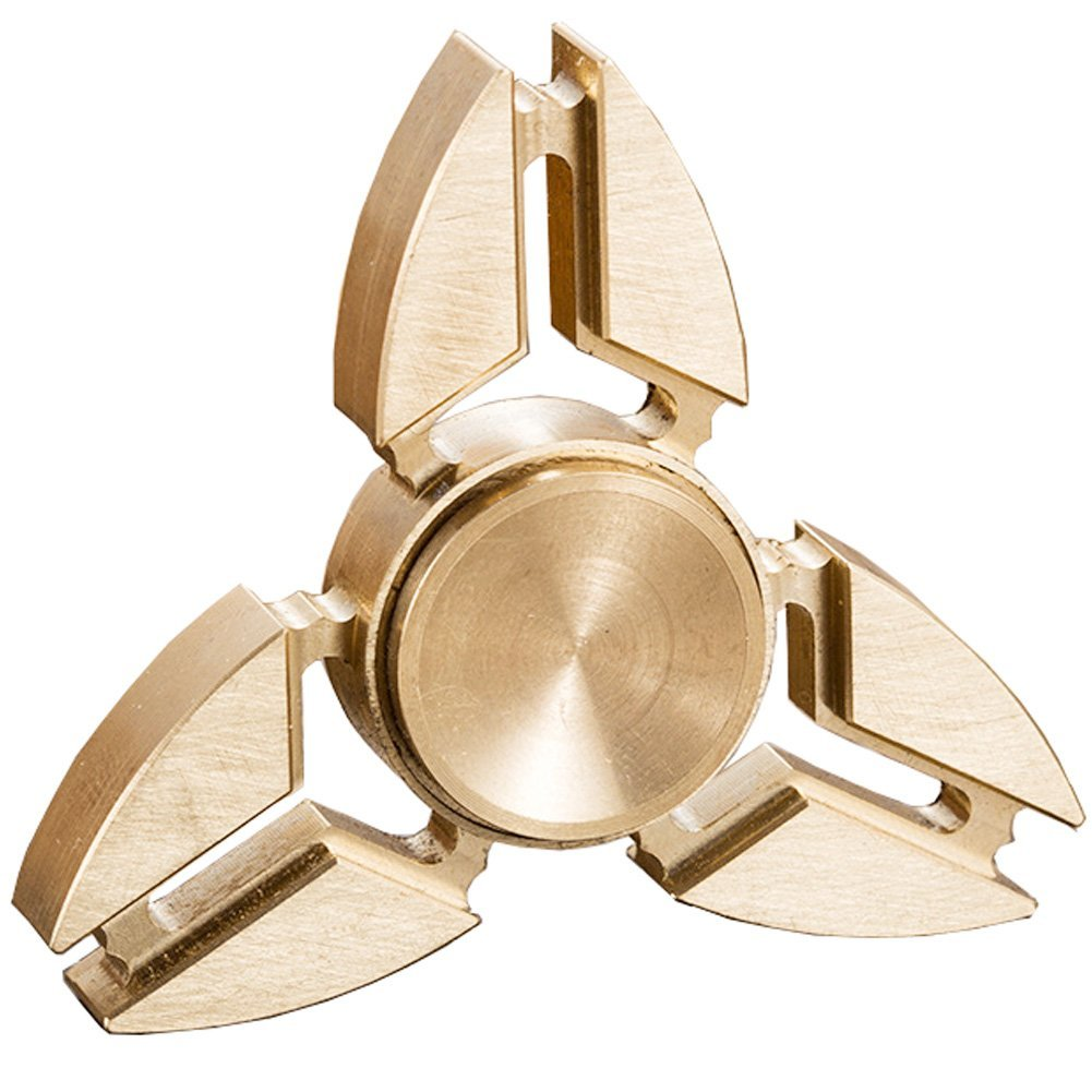 Gold Toned Split Tri Metal EDC Fidget Spinner All Products