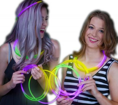 22 Inch Glow in the Dark Tri Color Necklace Green Purple Yellow 50 Pack All Products