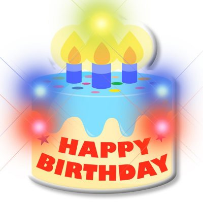 Blinking Light Up Happy Birthday Cake Body Light Pins All Body Lights and Blinkees