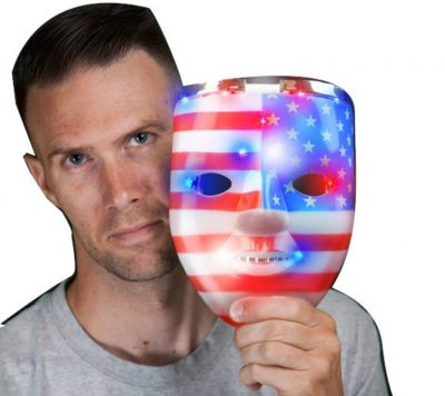 Light Up Classic American USA Flag Patriotic Skull Mask for 4th of July LED Accessories
