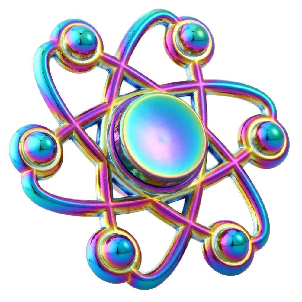 Rainbow Chameleon Spinning Atom Atomic Metal EDC Fidget Spinner O Magic Matts Brilliant Blinkys