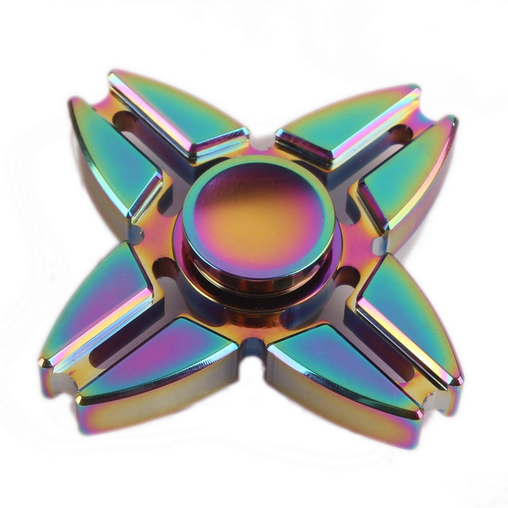 Rainbow Chameleon Split Four Way Metal EDC Fidget Spinner O Magic Matts Brilliant Blinkys