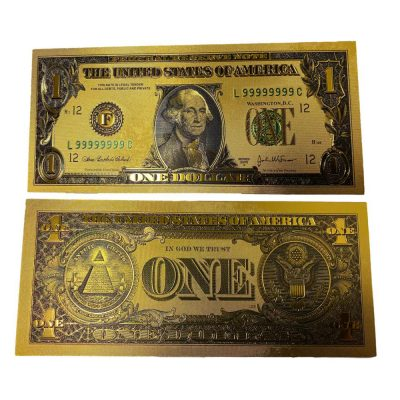 Premium Replica 1 Dollar Paper Money Bill 24k Gold Plated Fake Currency Banknote Art Commemorative Collectible Holiday Decoration 24K Gold and Silver Plated Replica Bills