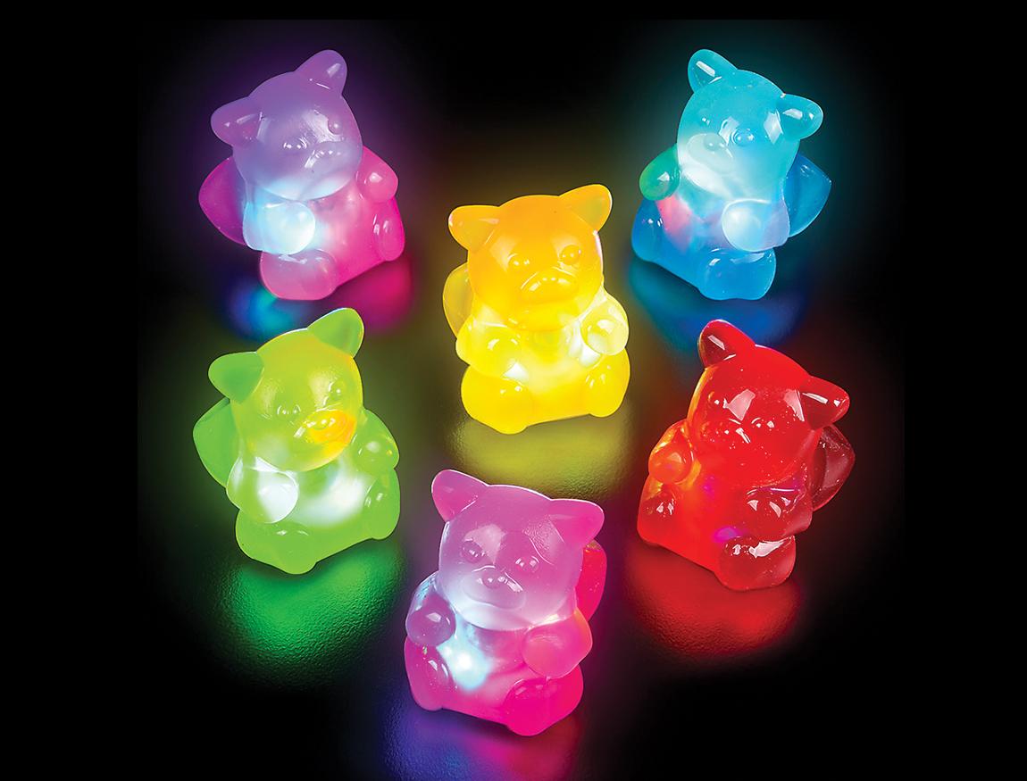 Led Sparkling Non Edible Gummy Bear Finger Rings Pack Of