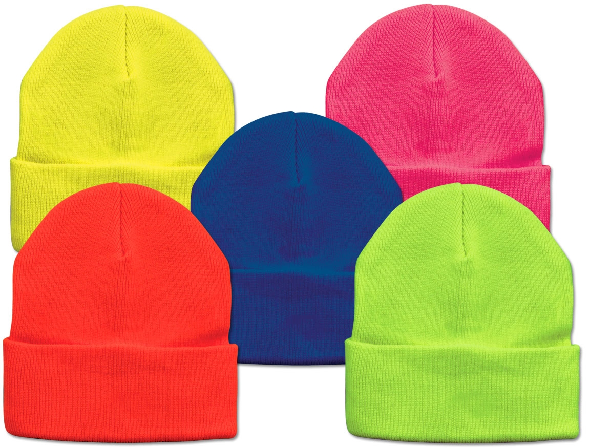 Neon Beanie Winter Knit Hat Assorted Pack Of 12 Magic